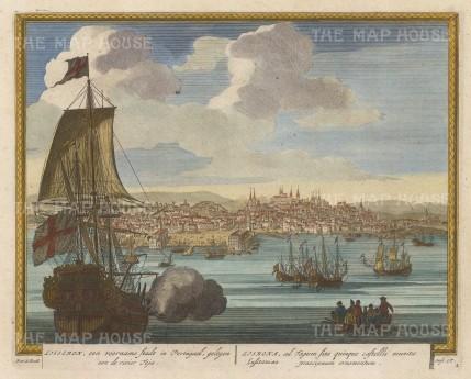 """Schenk: Lisbon. c1705. A hand coloured original antique copper engraving. 11"""" x 9"""". [PORp174]"""
