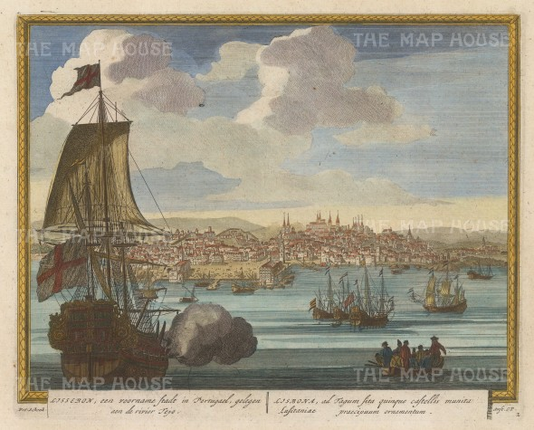 "Schenk: Lisbon. c1705. A hand coloured original antique copper engraving. 11"" x 9"". [PORp174]"