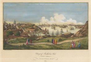 "Martin: Stockholm, Sweden. 1801. A hand coloured original antique copper engraving. 18"" x 12"". [SCANp111]"