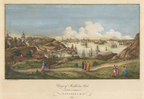 """Martin: Stockholm. 1801. A hand coloured original antique copper engraving. 18"""" x 12"""". [SCANp111]"""