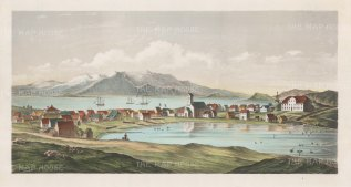 "Anon: Reykjavik. c1850. An original colour antique lithograph. 18"" x 10"". [SCANp232]"