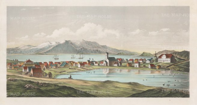 "Anon: Reykjavik, Iceland. c1850. An original colour antique lithograph. 18"" x 10"". [SCANp232]"