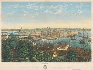 Stockholm: Spectacular panoramic view towards Gamla stan and Skeppsbron.
