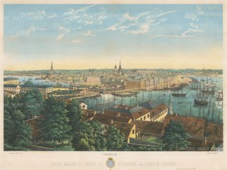 Stockholm: Spectacular panoramic view towards Gamla stan and Skeppsbron.