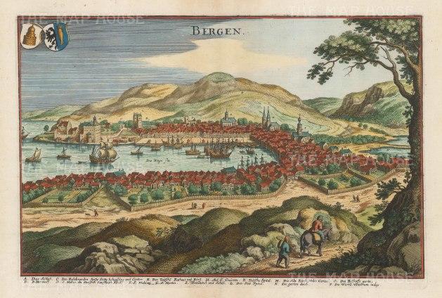 "Merian: Bergen. c1640. A hand coloured original antique copper engraving. 13"" x 9"". [SCANp322]"