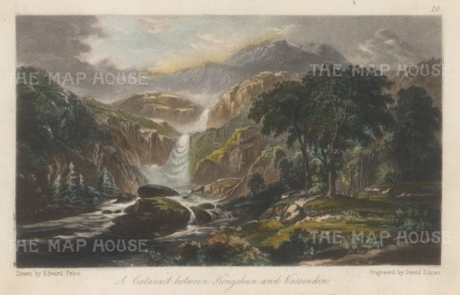 "Lucas: Kongshun & Vassenden, Norway. 1853. A hand coloured original antique steel engraving. 4"" x 3"". [SCANp333]"