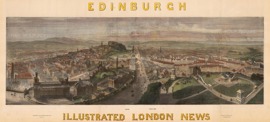 "Illustrated London News: Edinburgh. c1848. A hand coloured original antique wood engraving. 38"" x 16"". [SCOTp1641]"