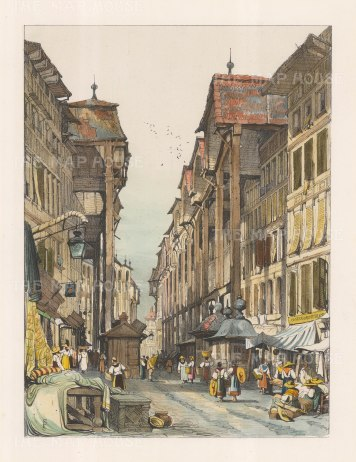 "Prout: Geneva. c1850. A hand coloured original antique lithograph. 12"" x 16"". [SWIp587]"