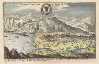 "Merian: Altdorf, Canton Uri. 1649. A hand coloured original antique copper engraving. 13"" x 9"". [SWIp728]"
