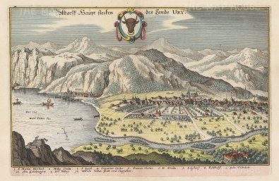 "Merian: Altdorf, Canton Uri. 1649. A hand coloured original antique copper engraving. 13"" x 9"". [SWIp728]"