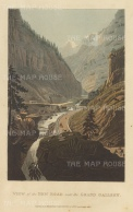 Gondo: View of the new road above the Doveria and cut through the granite cliffs. Gondo Gallery was completed in 1805 by the Kingdom of Italy.