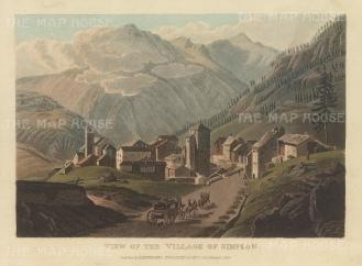 """Ackermann: Simplon. 1820. An original colour antique aquatint. 9"""" x 6"""". [SWIp757]"""