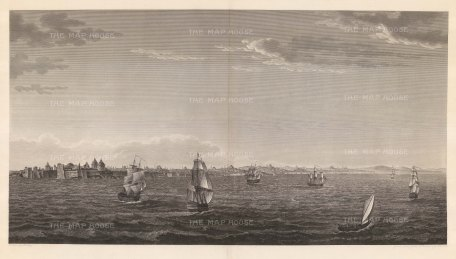 Panorama from the Sea of Marmara: Showing the coastline from the Chateau of the Seven Towers to the Escurial with galleons on approach