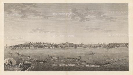 Panorama from Scutari: The Sultan Selim III being saluted as his galleys pass the barracks at Scutari.