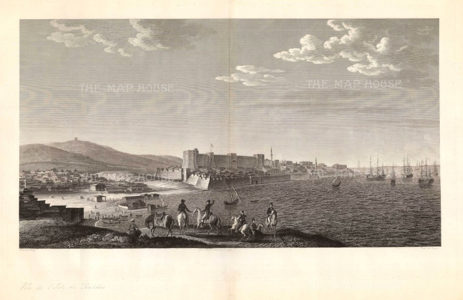 Tenedos (Bozcaada): Showing the island's15th c.castle and SW entrance to the Hellespont (Dardenelles), the narrow passage between the Aegean Sea and Sea of Marmara. The Western party in the fore may be a reference to the Russo-Turkish War (1787-92) in which the Ottomans were supported by the French and British.
