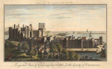 "English Traveller: Caernarvon Castle. 1773. A hand coloured original antique copper engraving. 12"" x 8"". [WCTSp435]"