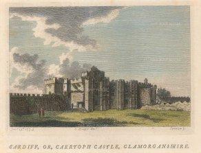 """Hopper: Cardiff Castle. c1770. A hand coloured original antique copper engraving. 6"""" x 4"""". [WCTSp468]"""