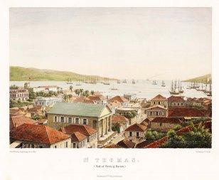 "Hansen: Charlotte Amalie, St. Thomas. 1860. A hand coloured original antique lithograph. 14"" x 12"". [WINDp1056]"