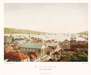St. Thomas: View of the town and harbour.