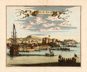 San Juan, Puerto Rico: Castillo San Cristobel and the harbour with Castillo San Felipe del Morro in distance.