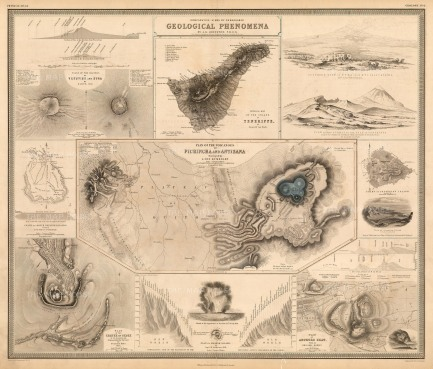 Infographic illustration of areas of geological interest.
