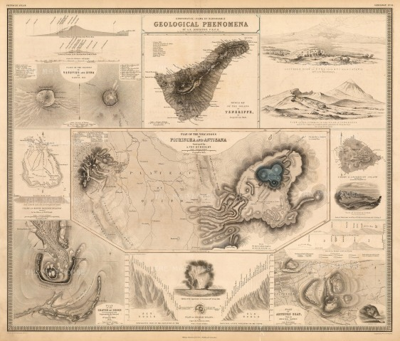 Victorian infographic illustration of areas of geological interest.