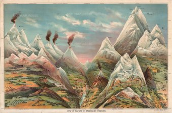 Illustrated Comparative Chart of the World's Mountains, Volcanoes and accomplished ascents.