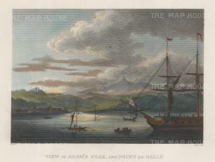 Point de Galle): View of the port with Adam's Peak (Sri Pada) in the distance.