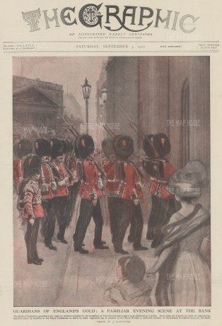 Welsh Guards at the Bank of England. Guardians of Britain's Gold.