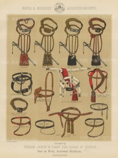 """Jones & Co: Accoutrements. c1886. An original antique chromolithograph. 13"""" x 18"""". [MILp10]"""