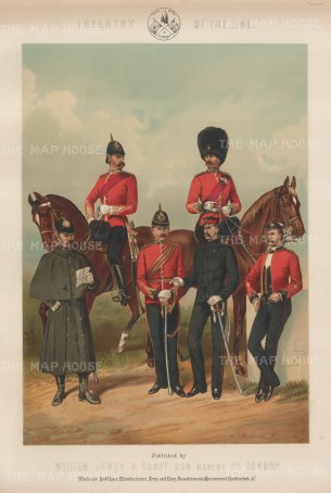 "Jones & Co: Infantry of the Line. c1886. An original antique chromolithograph. 13"" x 18"". [MILp11]"