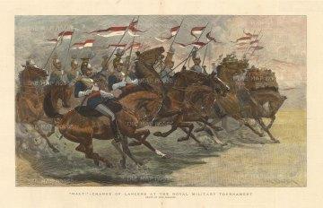 Royal Lancers: Dramatic charge at the Royal Military Tournament.