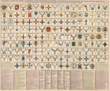 Military orders given by various European Princes for the bravery of their subjects or military victories.