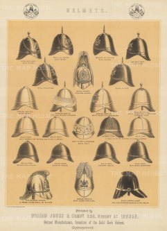 Helmets. 22 military and fire brigade helmets.