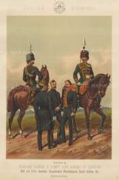 "Jones & Co: Hussar Regiments. c1886. An original antique chromolithograph. 13"" x 18"". [MILp13]"