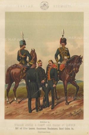 "Jones & Co: Hussar Regiments. c1886. An original antique chromolithograph. 13"" x 18"". [MILp13]"