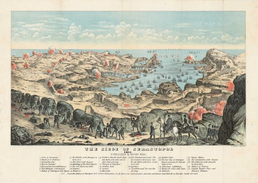 Siege of Sebastopol: Panoramic view with key to details of positions and arms.