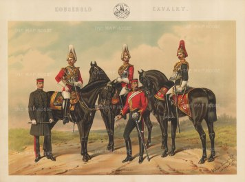 Household Cavalry: 1st and 2nd Life Guards and Royal Horse Guards.