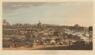 Battle of Leipsic: Flight of the French from the Allied Armies after their defeat at the Battle of Leipsic. Napoleonic Wars.