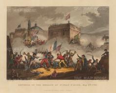 """Jenkins: Battle of St Jean D'Arce. 1815. An original colour antique aquatint. 12"""" x 9"""". [MILp46]"""