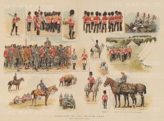 British Army: 17 vignettes drawn from life of predominantly Guards regiments.