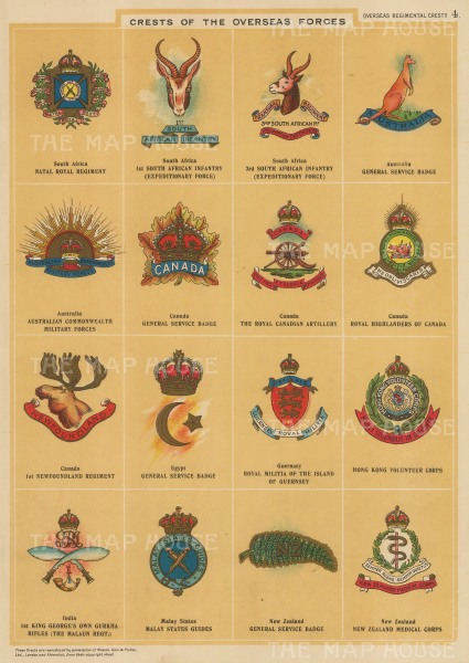 British Overseas Forces: 16 crests from South Africa, Australia, Canada, Egypt, Guernsey, Hong Kong, India, Malay New Zealand.