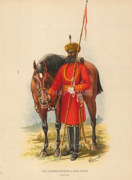 "Richards: Calcutta Governor General's Bodyguard. c1890. An original antique chromolithograph. 7"" x 9"". [MILp68]"