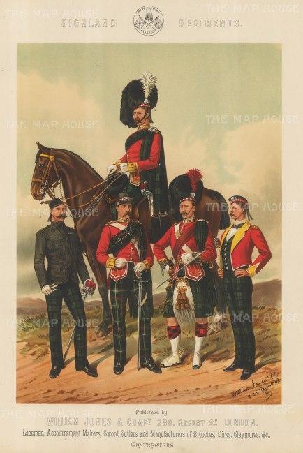"Jones & Co: Highland Regiments. c1886. An original antique chromolithograph. 13"" x 18"". [MILp6]"