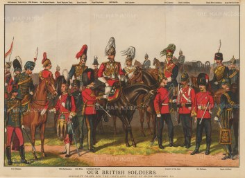 Cavalry Regiments including Scots Greys, Lancers, Hussars, Dragoons, Life Guards, RAC, RA and Coldstream. With key.