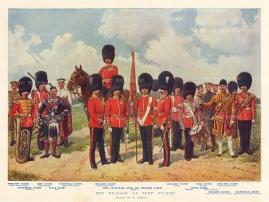 Guards: Uniforms of different ranks of the Grenadier, Coldstream, Scots and Irish Guards after the military artist Richard Simkin.