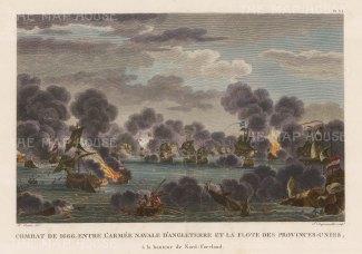 "Ozanne: St James's Day Battle 1666. c1800. A hand coloured original antique copper engraving. 15"" x 12"". [NAVp100]"