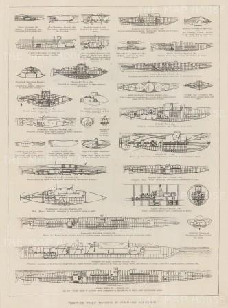 "Illustrated London News: Submarine Navigation. 1899. An original antique wood engraving. 10"" x 14"". [NAVp103]"