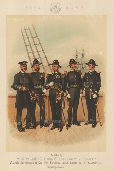 Royal Navy: Commander, Captain, Admiral, Surgeon Lieutenant, Sub-Lieutenant.