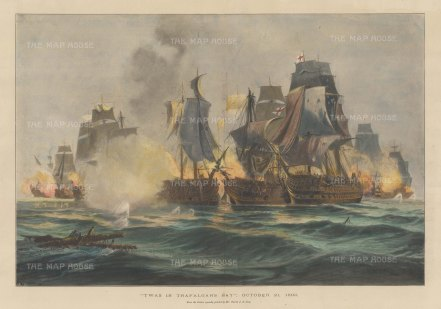 Battle of Trafalgar: After the painting 'Twas in Trafalgar's Bay' by the eminent marine artist Charles de Lacy.